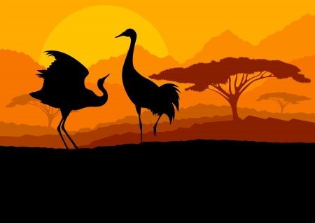 Crane couple in wild mountain nature landscape background illustration vector Stock Vector - 18581145