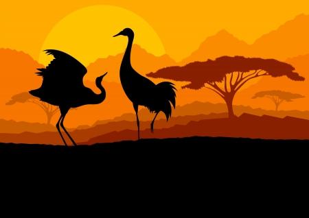 Crane couple in wild mountain nature landscape background illustration vector Stock Vector - 18581145