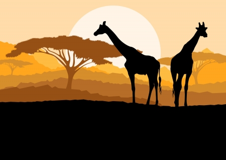 Giraffe family silhouettes in Africa wild nature mountain landscape background illustration vector Vector