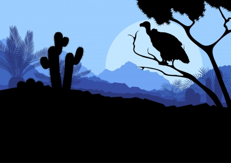 Desert wild nature landscape with cactus, palm tree plants and vulture bird in illustration background vector