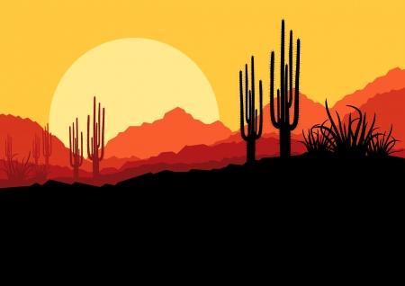 cactus desert: Desert wilde natuur landschap met cactussen en palmbomen planten illustratie achtergrond vector Stock Illustratie