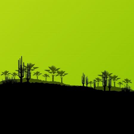 plantas del desierto: Desierto de paisajes salvajes y la naturaleza ecología con cactus y palmeras plantas de ilustración de fondo vector