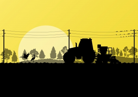 Agriculture tractor sowing crop in cultivated country field landscape background illustration vector