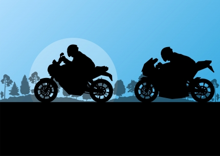 Sport motorbike riders motorcycle silhouettes in countryside forest nature landscape background illustration vector Vector