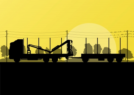 Forestry loggers truck on highway in countryside forest nature landscape illustration background vector Vector