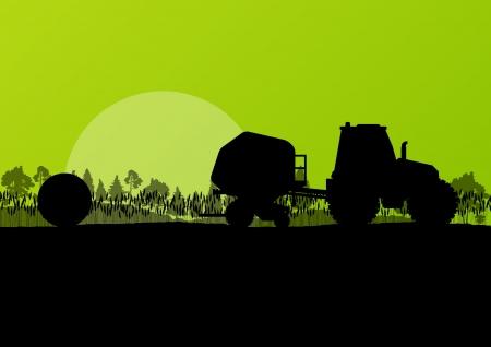 俵: 耕された田舎フィールド風景背景イラスト ベクトルで干し草の俵を作る農業トラクター