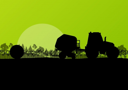hay bale: Agriculture tractor making hay bales in cultivated countryside fields landscape background illustration vector