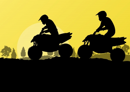 All terrain vehicle quad motorbike riders in countryside forest nature landscape background illustration vector Vector