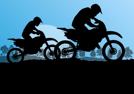 motorbike jumping: Motorbike riders motorcycle silhouettes in wild forest mountain nature landscape background illustration vector
