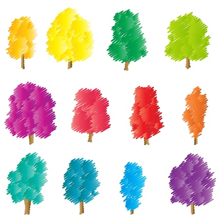 Tree set vector background stylized concept Vector