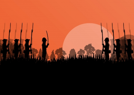 cavalry: Vintage old civil war battle field warfare soldier troops and guns detailed silhouettes illustration landscape in countryside forest field background vector