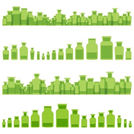 pamper: Herbal bottles essences vector ecology medicine concept background for poster