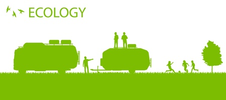 campground: Ecology camping trailer green vector background card concept poster