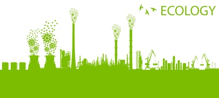 polluting: Ecology factory chimney vector background concept with no pollution green concept card