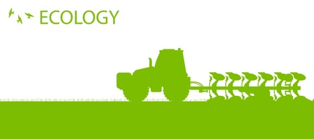 farmed: Agriculture tractors plowing the land in cultivated country fields ecology vector concept Illustration