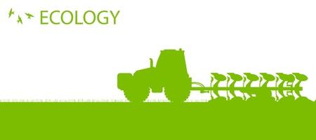 plowing: Tractores agr�colas arar la tierra cultivada en el pa�s de campos de vector concepto ecolog�a