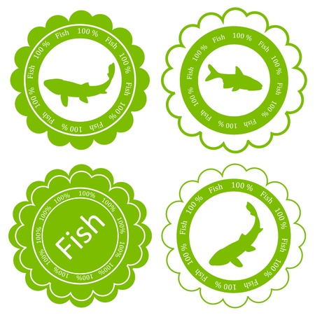Fish vector background label stamp green ecology concept