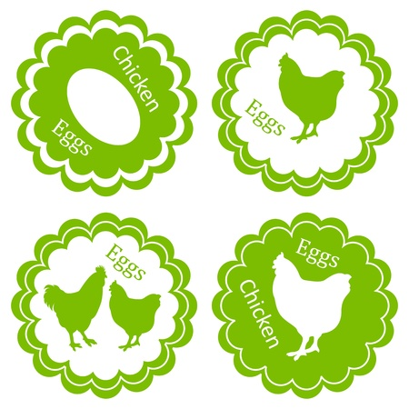 Chicken eggs vector background label stamp green farm ecology concept Vector