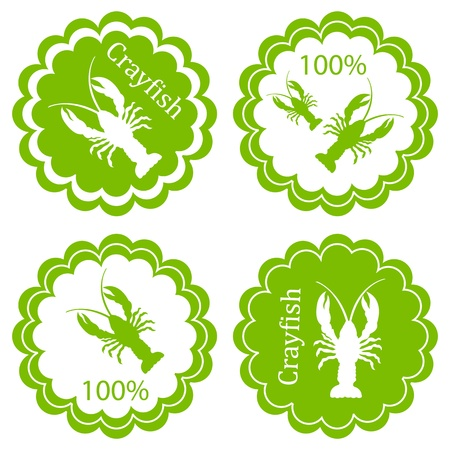 Crayfish vector background label stamp green ecology concept