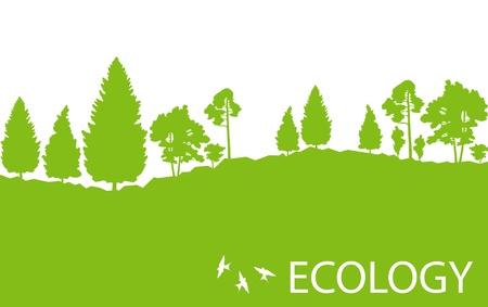 background nature: Ecology concept detailed forest tree illustration vector background card or poster Illustration