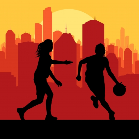 woman jump: Women basketball in front of city sunset vector background