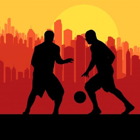 Basketball players in front of city sunset vector background concept Vector
