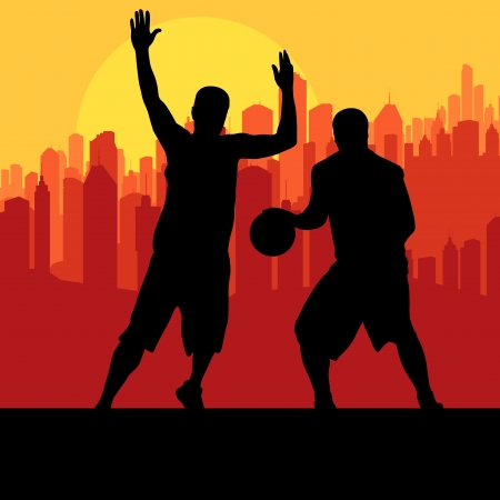 layup: Basketball players in front of city sunset vector background concept