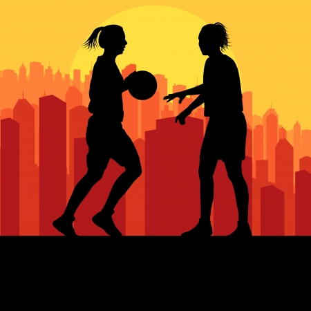 gym ball: Women basketball in front of city sunset vector background