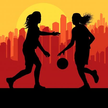 baloncesto chica: Baloncesto de las mujeres frente a la puesta del sol de la ciudad de vectores de fondo