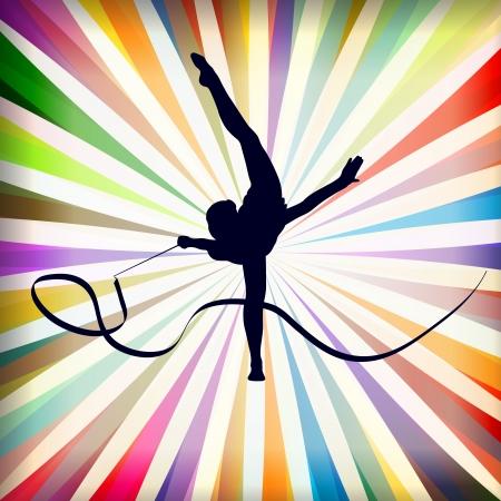 Junge Frauen, die Gymnastik Kunst Gymnastik Sport-Tricks mit Band in abstrakten Hintergrund Illustration Vektor Vektorgrafik