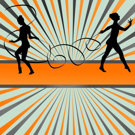 Young women doing calisthenics art gymnastics sport tricks with ribbon in abstract background illustration vector Stock Vector - 19181171