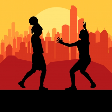 Women basketball in front of city sunset vector background Vector