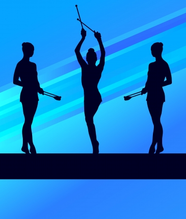 grand palace: Rhythmic Gymnastics woman with clubs vector background concept Illustration