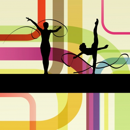 Young women doing calisthenics art gymnastics sport tricks with ribbon in abstract background illustration vector Stock Vector - 19181204