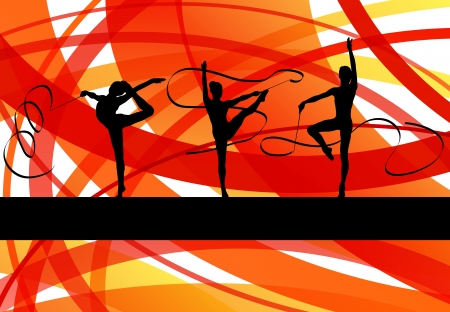 Young women doing calisthenics art gymnastics sport tricks with ribbon in abstract background illustration vector Stock Vector - 19181218