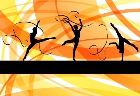 nude gymnast: Young women doing calisthenics art gymnastics sport tricks with ribbon in abstract background illustration vector