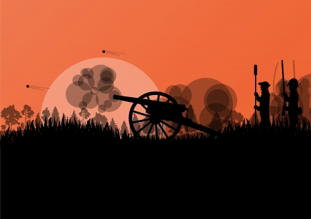 gunpowder: Old civil war battle field warfare soldier troops and artillery cannon guns detailed silhouettes illustration background vector Illustration
