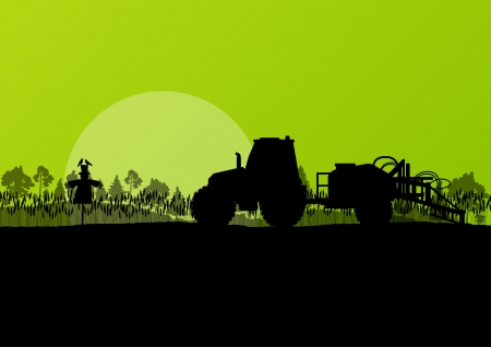 agricultural: Agriculture tractor vector background