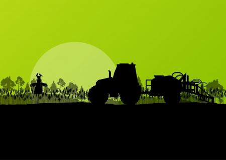 Trattore Agricoltura vettore sfondo Vettoriali