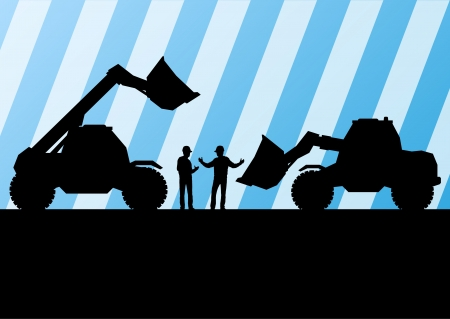 hydraulic: Excavator tractors detailed silhouettes illustration in construction site mining background vector