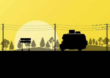 Ecology camping trailer green vector background card concept Vector