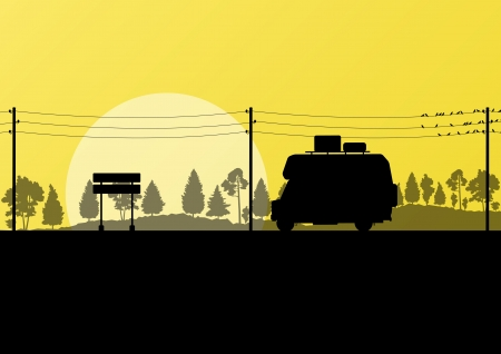 mobile home: Ecology camping trailer green vector background card concept