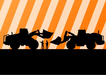 excavate: Excavator tractors detailed silhouettes illustration in construction site mining background vector