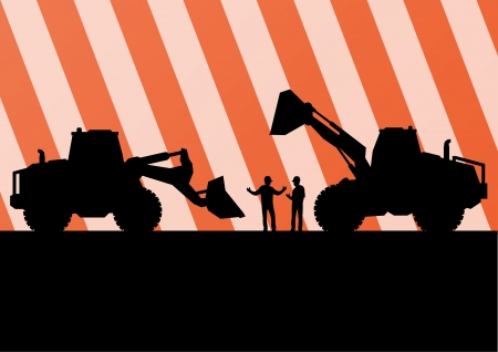 demolition: Excavator tractors detailed silhouettes illustration in construction site mining background vector