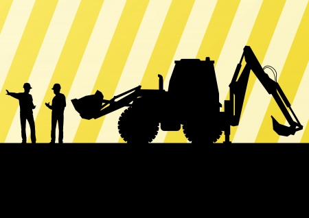 factory workers: Excavator tractors detailed silhouettes illustration in construction site mining background vector
