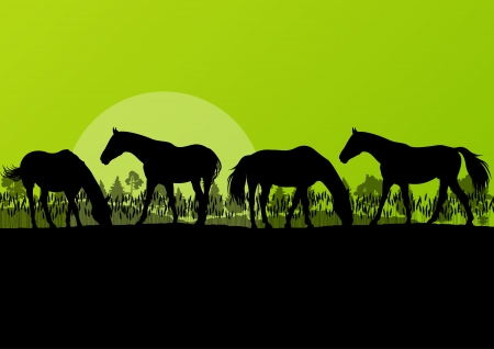horseback riding: Countryside farm horses silhouettes in wild nature mountain forest landscape illustration background vector