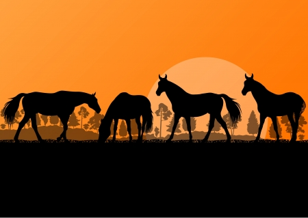 galloping: Countryside farm horses silhouettes in wild nature mountain forest landscape illustration background vector