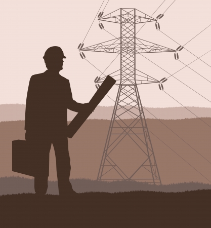 electricity pole: High voltage tower and line background vector for poster