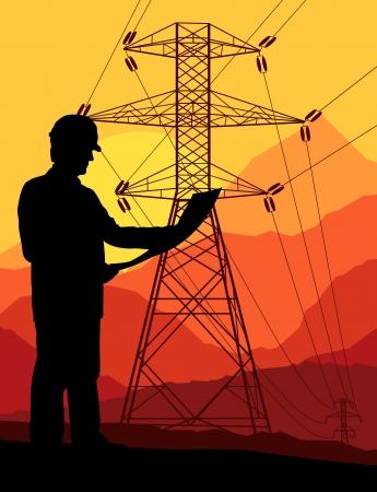 torres de alta tension: Torre de alta tensi? la l?a de fondo vector para el cartel