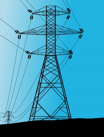 electricity pylon: High voltage tower and line background vector for poster